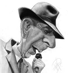 Leonard Cohen Caricature( done too soon) by du-har