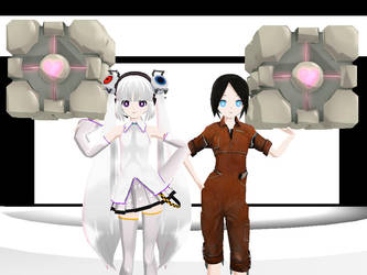 GLaDOS and Chell MMD by MintLatFenton