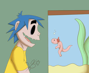 2-D sees his first Axolotl by KS-ZombieSoul93