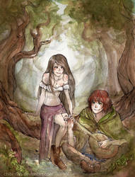 Kvothe and Denna - Name of wind by Chibi-Rina