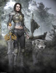 Female Warrior and her pet by htbuffalo