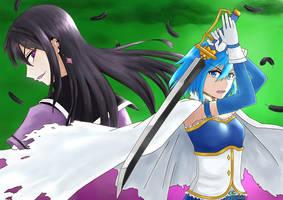 Homura vs Sayaka by Meongs13