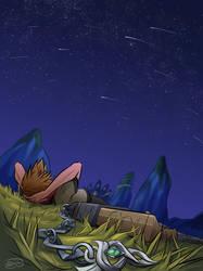resting under the meteor shower by rosiesinner