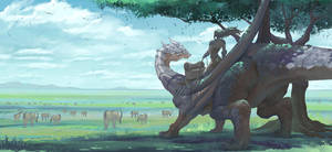 Dragon with grassland by norwata