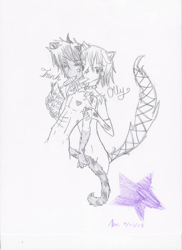 Trinh and Olly-cute friends by Queen-of-vulpes