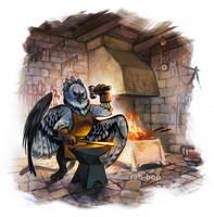 Gryphon Blacksmith by rah-bop