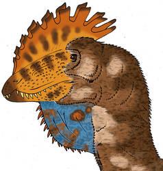 All Yesterdays Fan-art - Luis Rey-ized Dilophosaur by Pristichampsus