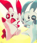 Day20 [ELECTRIC RODENT] Plusle and Minun by Rock-Bomber