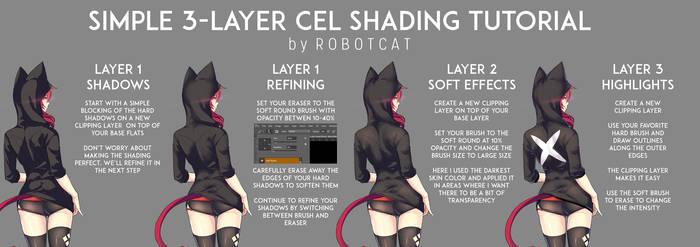 RobotCat's Simple 3-Layer Cel Shading Tutorial by RobotCatArt