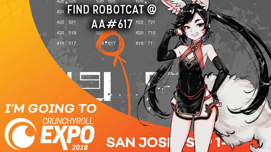 I'm at Crunchyroll Exop 2018! by RobotCatArt
