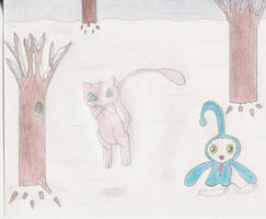 Mew and manaphy snow scene by 1Meh1