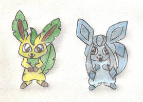 Leafeon and Glaceon by 1Meh1