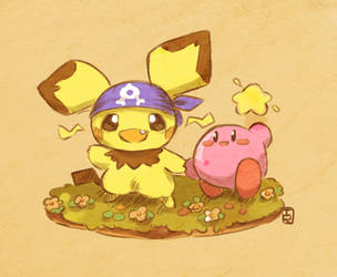 Pichu and Kirby by Teatime-Rabbit
