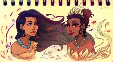 Pocahontas and Tiana: Concept Art by ZARINAABZALILOVA