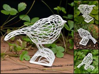 Voronoi Songbird in White by TempestWorks
