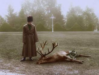 Nicholas II with a stag by KraljAleksandar