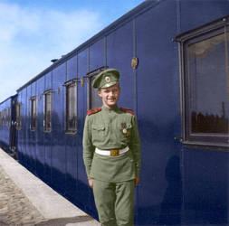 Tsesarevich Alexei on the station platform by KraljAleksandar
