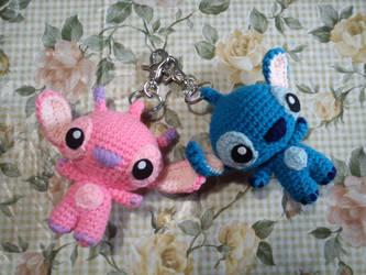 Stitch and Angel Keychain by DuchessGala1011
