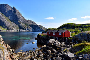 1466 The red house near the fjord by RealMantis