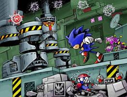 Sonic in the Scrap Brain Zone by gsilverfish
