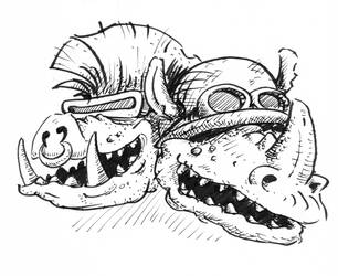 Inktober Scary Friends by gsilverfish