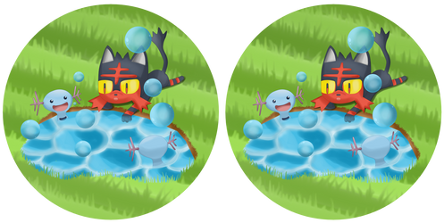 Spot the difference: Litten Playing with Woopers by TheLittlelight