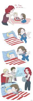 Steve and Bucky babies: Sick by SilasSamle