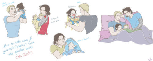 Steve and Bucky Babies: Babysitter by SilasSamle