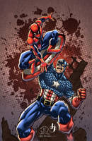 Spidey vs Captain America COLORS by ArtOfTDJ
