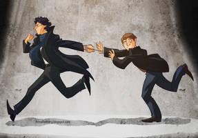 Sherlock and Watson by aerettberg