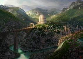 Giant tower library concept -color sketch by chvacher