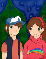 Dipper and Mabel by Kimiikins