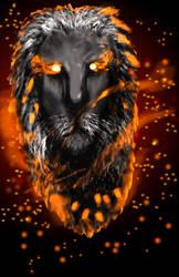 fiery lion head WIP by Rtistry
