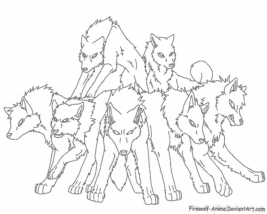 Pack of Wolves Lineart by FirewolfAnime