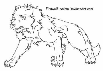Injured Wolf LineArt by Firewolf-Anime