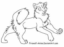 Akita Inu Line Art by Firewolf-Anime