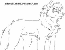 Proud Wolf Line Art by Firewolf-Anime