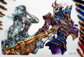 League of Legends fanart - Jhin and Ashe by MsLydix