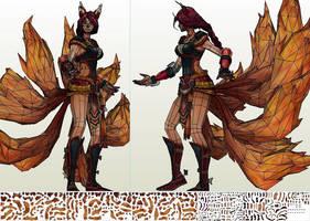 Ahri(Foxfire) - template by portaldragon