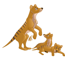 Thylacine mama and pups by bashfulbutterfly