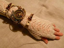 A steampunk bracelet with a dial by ChanceZero