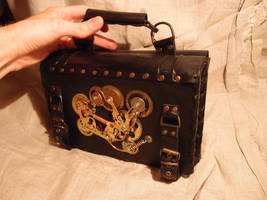 A steampunk visit card holder by ChanceZero