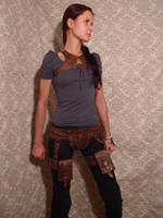 Steampunk leather harness and belt by ChanceZero