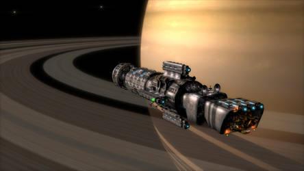 Southern Cross Starship in orbit around Saturn by CareldeWinter