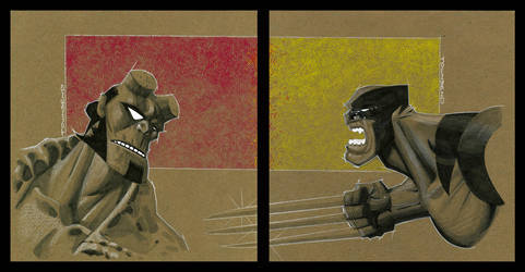 chip board Hellboy vs Wolvie by TimTownsend