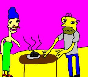 marge simpsons blog 01 drawing:The Burnt Roast by LeesaaSlipsun