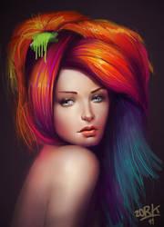 rainbow hair by thezork