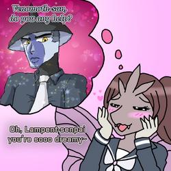 Venomoth Loves Lampent-senpai by Flareon-The-Flareon