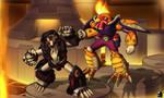 Commission: Burning Fight by TargonRedDragon