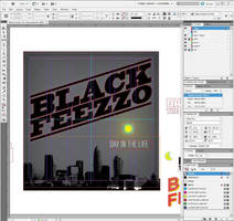 Indesign screenshot of Black Feezzo CD design by mmacklin